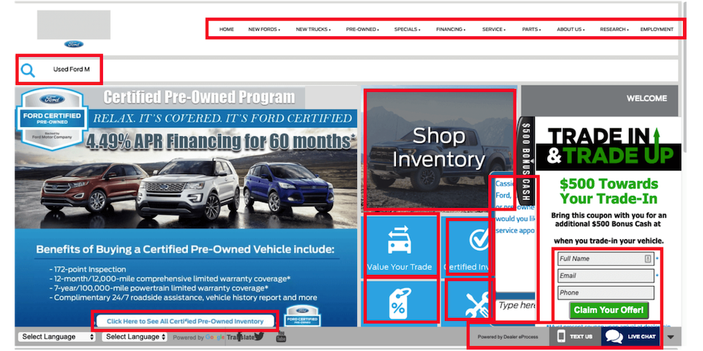 bad dealership website with Too many calls to action